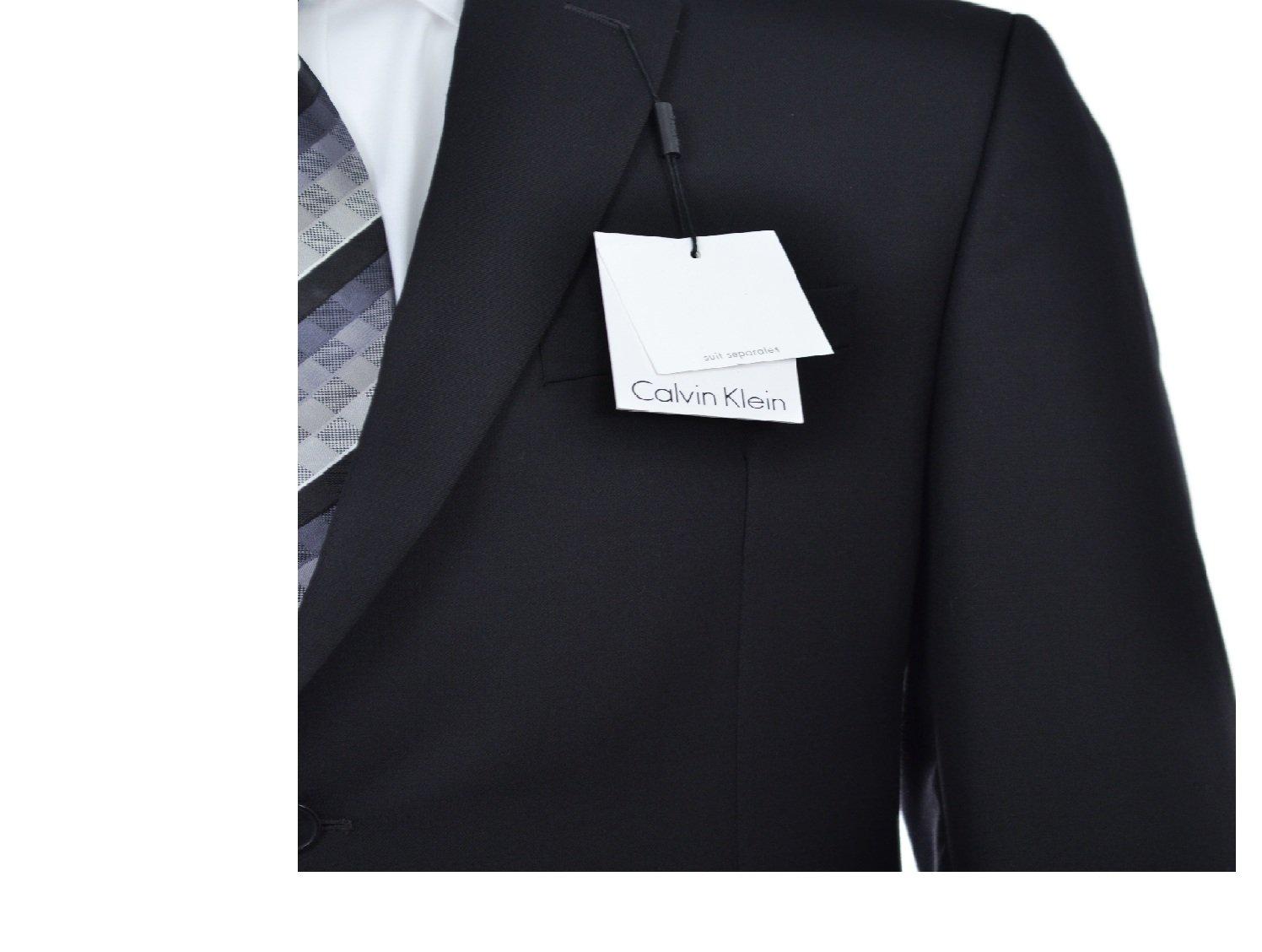 Calvin Klein Slim Fit Black Solid Two Button Wool New Men's Suit Set (44R 40W x 32L) by Calvin ` Klein (Image #4)