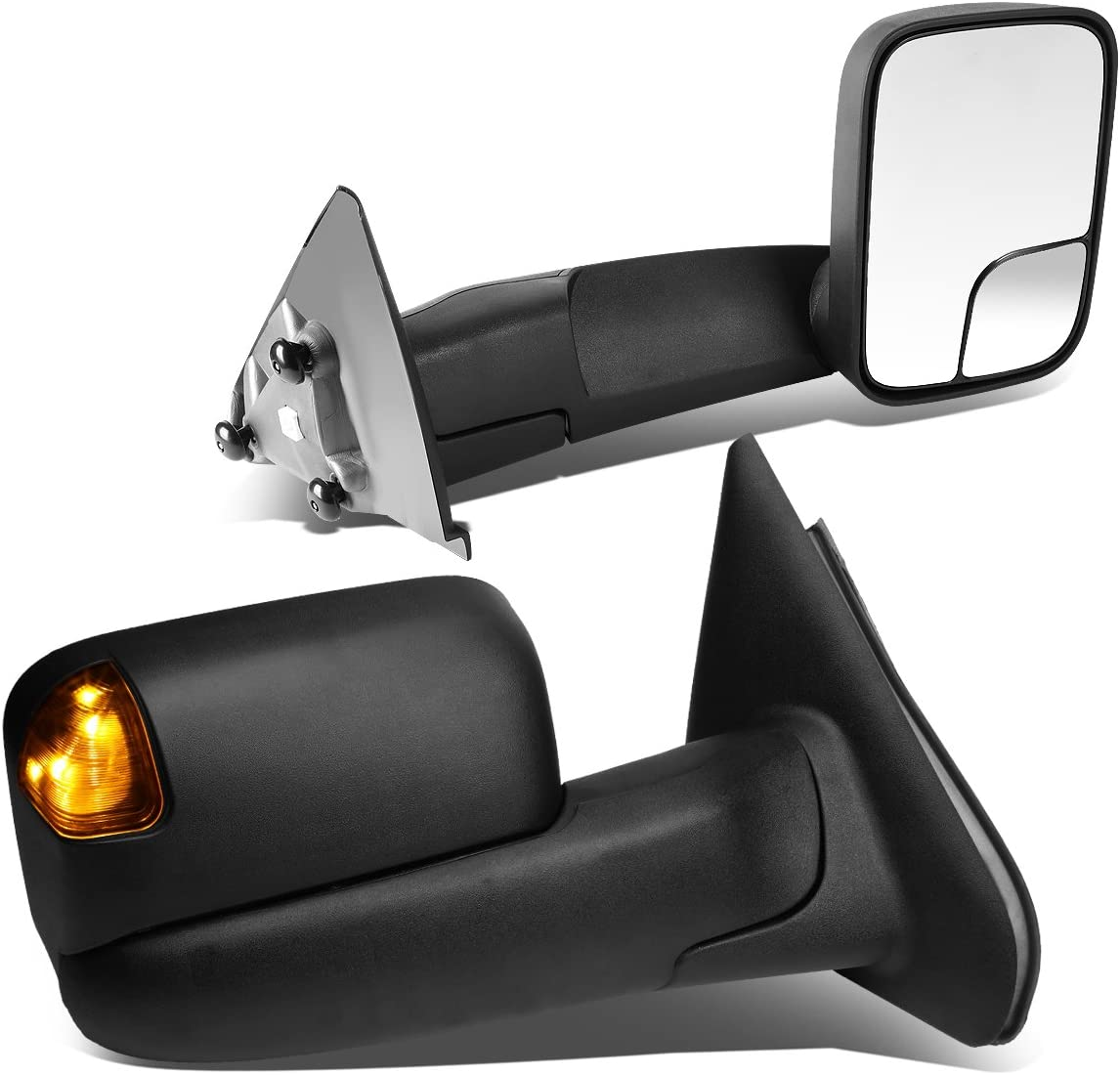 For Dodge Ram 1500-3500 Pair of Black Tow Mirrors Amber LED Turn Signal Lights