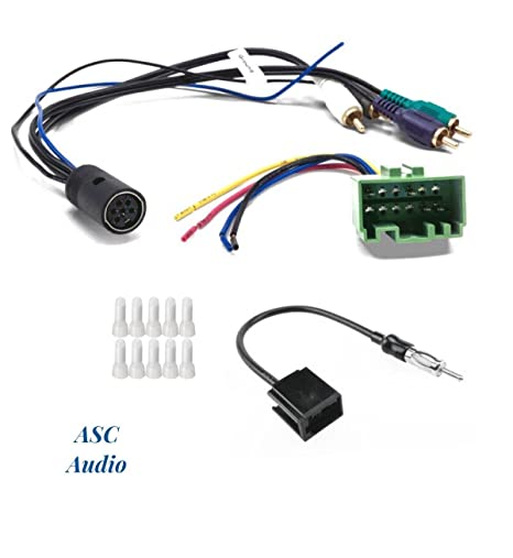 amazon com asc audio car stereo radio wire harness and antenna car engine wiring asc audio car stereo radio wire harness and antenna adapter to install an aftermarket radio for