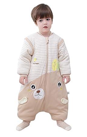 babySchläfsack langarm winter kinderSchlafsack,Hund mit Füßen Baumwolle