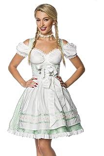 af842f194bc0d8 Luxus Designer Dirndl mit Schürze Kleid Dirndkleid Oktoberfest Tracht  Trachtenkleid Spitze Brokat Paspelierung Rüschen Borte Weiß