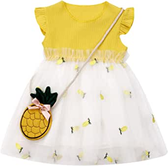 Genlei 2PCS Baby Girl Pineapple Princess Tutu Dress Toddler Kids Sundress Summer Sleeveless Cute Clothes 6M-3Y