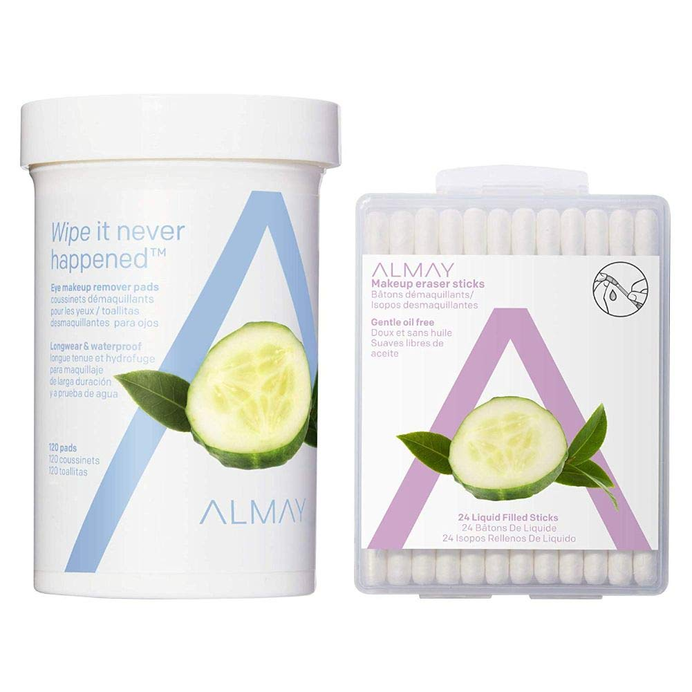 Almay Longwear & Waterproof Eye Makeup Remover Pads and Oil Free Makeup Eraser Sticks, 120 Pads Each (Pack of 2) & 24 Sticks, 5.6 oz