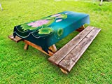 Lunarable Japanese Outdoor Tablecloth, Asian Blooming Lotus Flower and Leaves Meditation Zen Illustration, Decorative Washable Picnic Table Cloth, 58 X 84 inches, Fern Green Pink and Teal