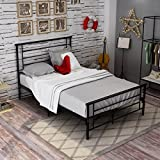 Dumee Full Size Metal Bed Frame With Headboard And Footboard Steel Kd Slat Support Mattress foundation Black