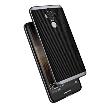 Huawei Mate 9 Funda , ivencase Prima Híbrido Anti-rasguños Marco Bumper Carcasa Doble Capa Fibra de Carbono para Huawei Mate 9 5.9
