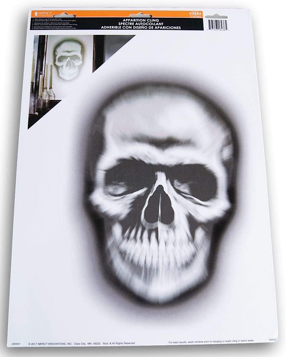 Spooky Town Halloween Semirealistic Super Creepy Apparition Cling for Windows or Mirrors - 1 Pc (Skull)