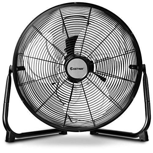 COSTWAY Floor Fan, 16-Inch w/360° Rotation, 3-Speed Adjustable, Commercial Industrial Grade, Metal, Heavy Duty Electric High Velocity Fan, Black