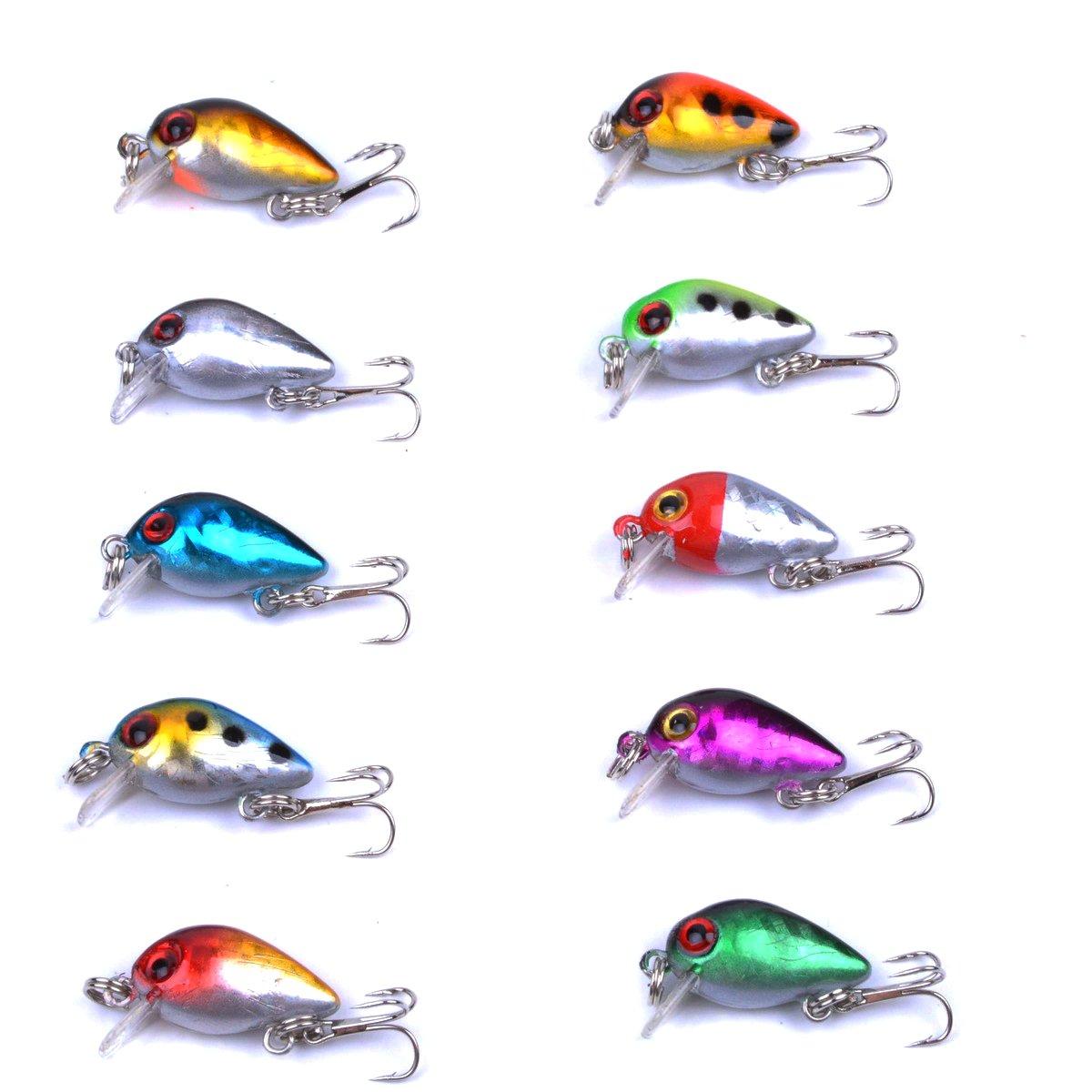 Aorace 10pcs Lot Mini Fishing Lures 10 Colors Spoon Lure Spinner Bait Metal Pcs Plus Box 26cm 16g Tackle High Carbon Steel Treble Hook Sports Outdoors