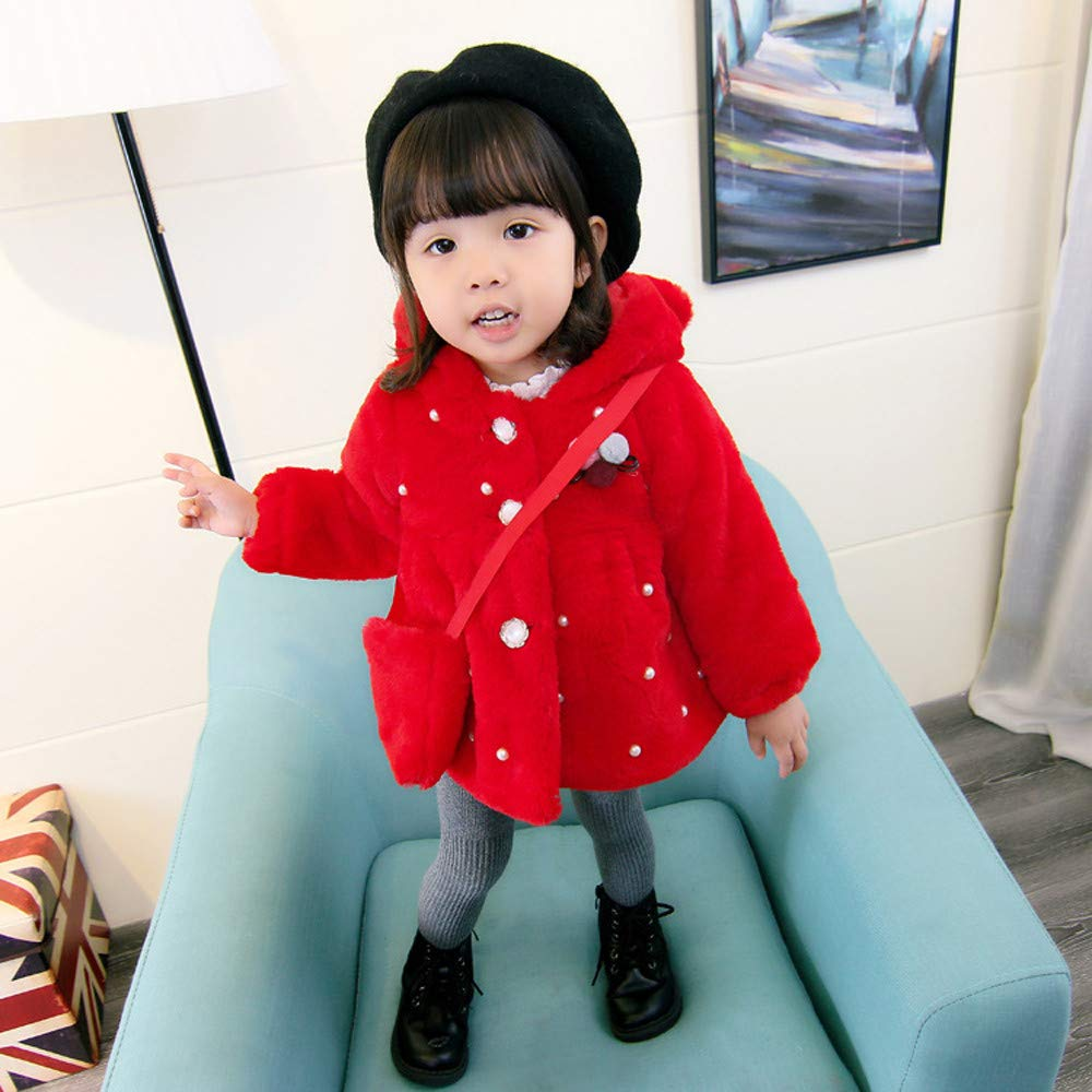 Cute Baby Girls Winter Warm Jacket Faux Fur Coat Thick Fluff Warm Thick Plus Coat Outerwear with Bag