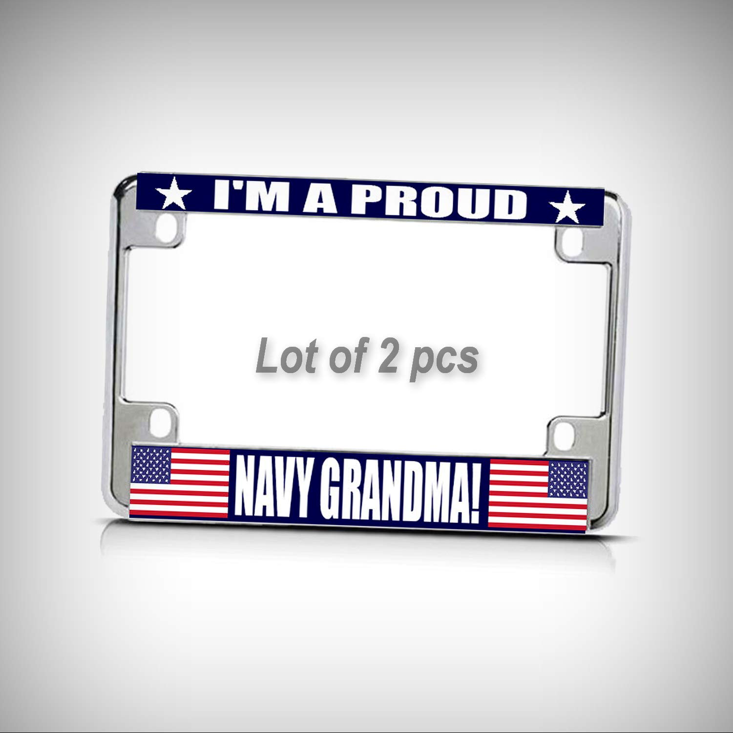 Set of 2 Pcs - Navy Grandma! White Blue Chrome Metal Bike Motorcycle Tag Holder License Plate Frame Decorative Border