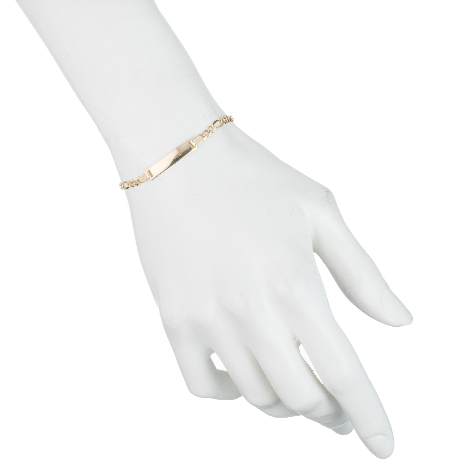 10k Yellow Gold Figaro ID Bracelet for Children, 3.5mm, 6 Inch by Glad Gold (Image #2)