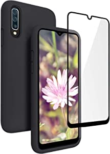 Vinve Samsung Galaxy A50 Case with Tempered Glass Screen Protector [2 Pack], Liquid Silicone Slim Fit Drop Protection Case for Galaxy A50 (Black)