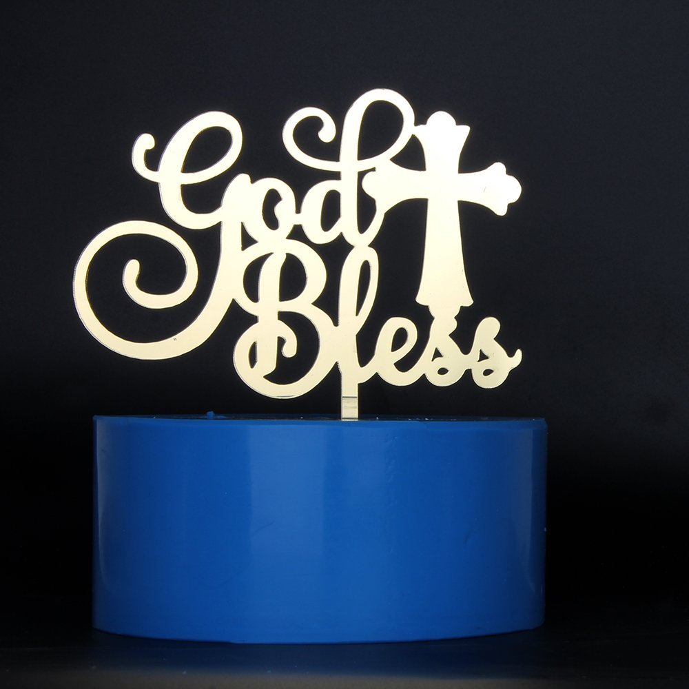 Mirror Gold God Bless Cake Topper Baptism, Christening, Dedication or First Communion Decoration Supplies