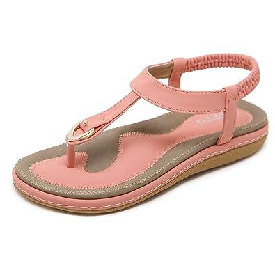 Socofy Damen Sandalen, Flip Flops Böhmische Sommer Sandals Flach Zehentrenner Stil T-Strap Offene Schuhe Strand Schuhe Schwarz-A 38
