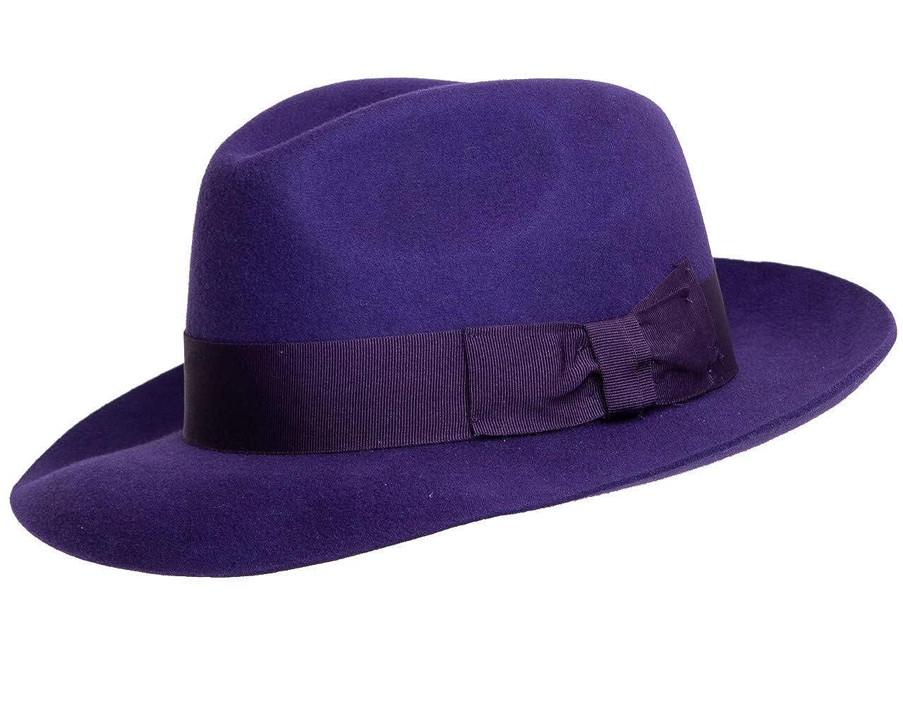Purple Hand Made Gents Fedora Felt Trilby Hat with Wider Brim 100% Wool New