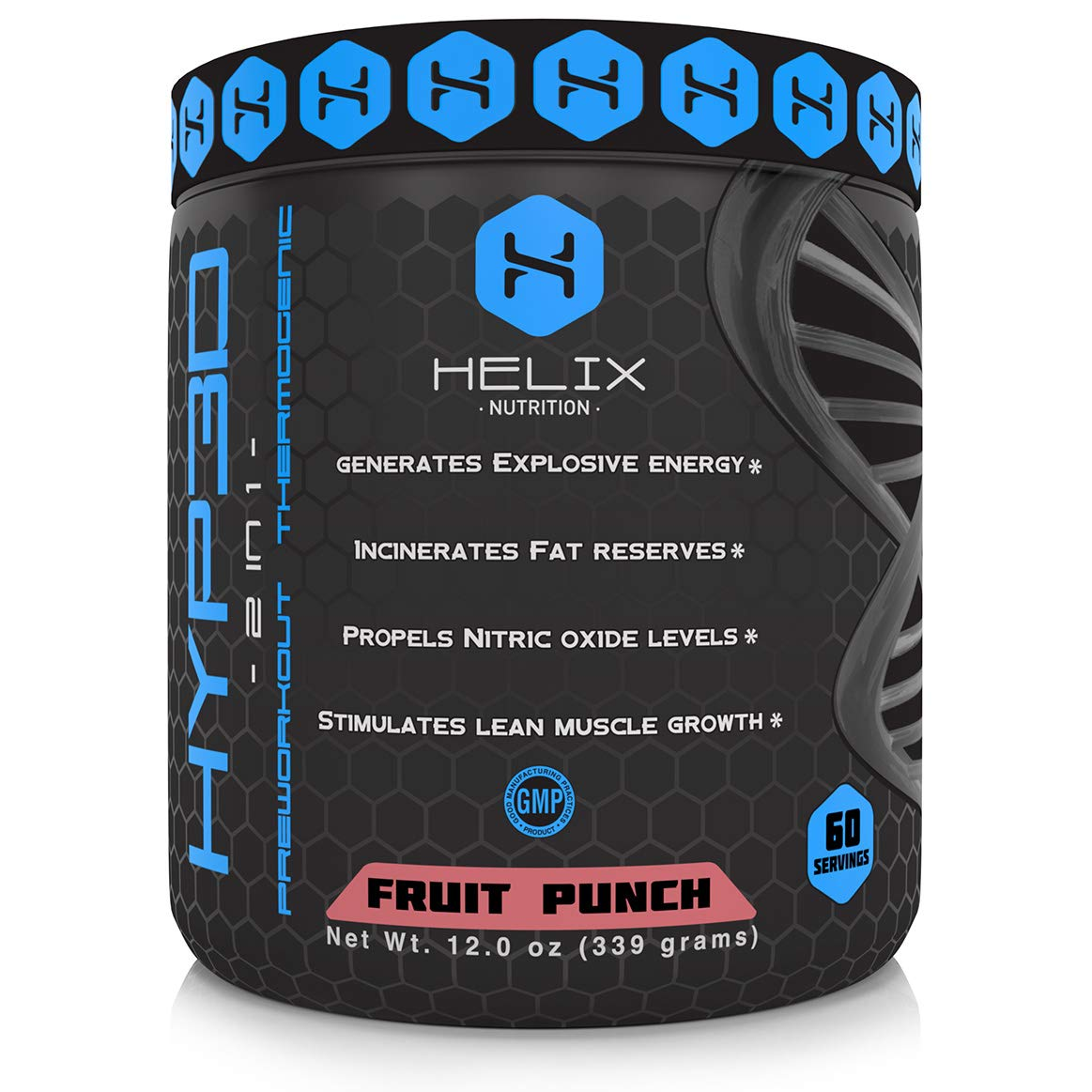 Hyp3d Fruit Punch Pre-Workout: The World's First 2-in-1 Clinically Dosed Pre Workout & Thermogenic. Experience the Rush, Pump and Strength. Money Back Guarantee