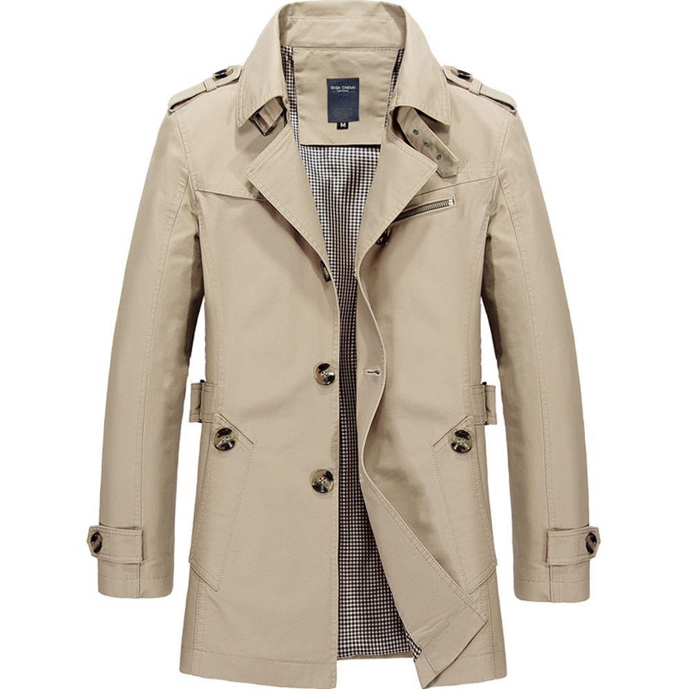 WEEN CHARM Mens Short Single Breasted Trench Coat Pea Coat Overcoat Windbreaker Jacket