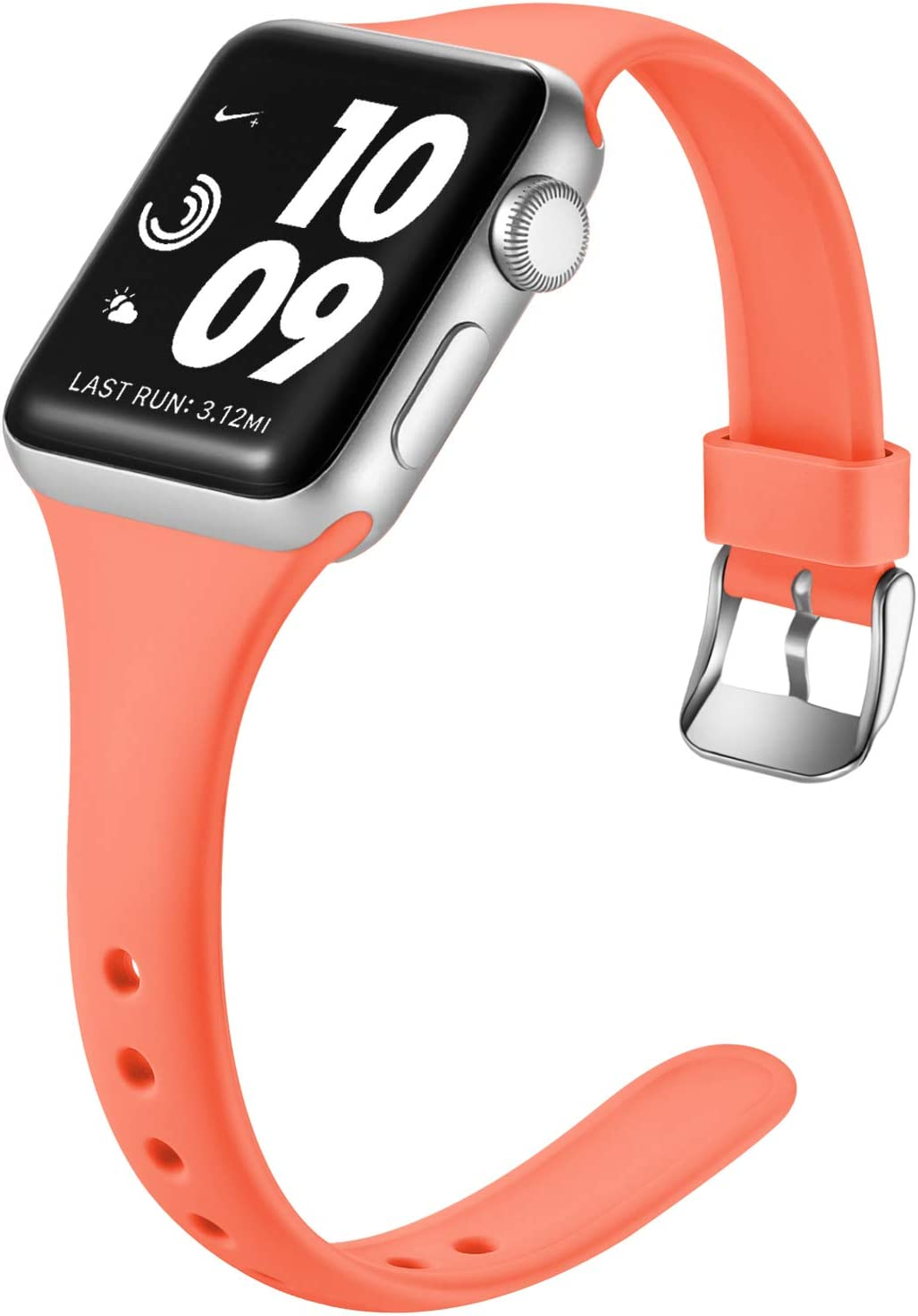 Laffav Sport Band Compatible with Apple Watch 38mm 40mm for Women Men Slim Sport Replacement Wristband for iWatch SE & Series 6 & Series 5 4 3 2 1, Coral, S/M