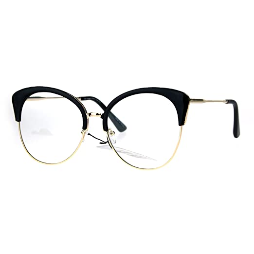 9e6bd07237a Amazon.com  Womens Large Cat Eye Half Rim Clear Lens Fashion Glasses ...