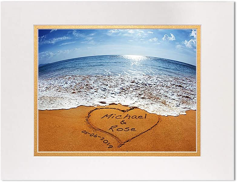 A&T ARTWORK Sand Writing Personalized Art Photo Prints Gift,Includes Names and The Special Date Unique Gift for The Wedding Anniversary 14x11 inches D-Mats UNFRAMED