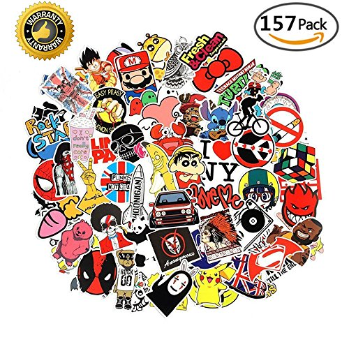 Price comparison product image Laptop Stickers Pack 150+7 Bonus Pokemon & Vinyl Waterproofing Graffiti Decal Logo Stickers for Personalize Laptops Kids Skateboard Snowboard Car Helmet Luggage Bikes - Random Sticker Pack