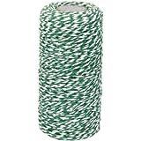 100M Corda Cotone Cordoncino Passamaneria Dia. 2mm Decorazione Feste Nozze Verde Militare E Bianco