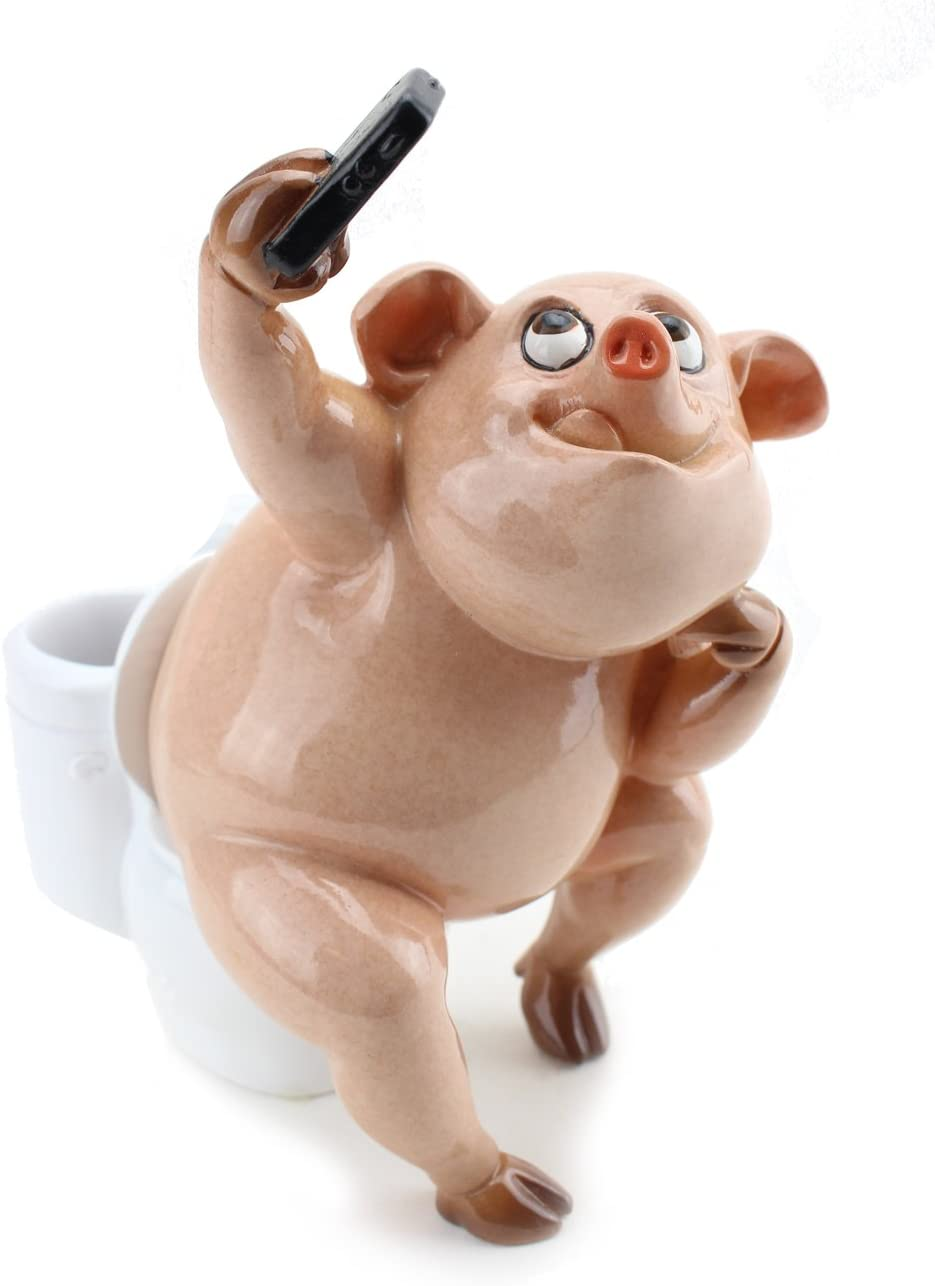 Novelty Pig on Toilet Selfie Statue ~ Funny Pig Statue For Home Bathroom Decor (G16621) ~ WPYST