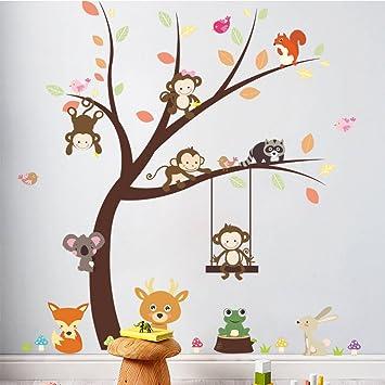 KELAI & craft art decor Beautiful Tree Animal Wall Decals, Removable  Cartoon Animal Monkey...