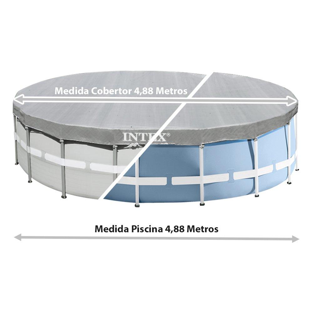 Intex 28040 - Cobertor piscina metálica Ultra Frame 488 cm con protección rayos uv: Amazon.es: Jardín