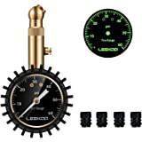 "Leekoo Heavy Duty Mechanical 60PSI Tire Pressure Gauge with 2"" Easy Read Glow Dial and 4 Tire Valve Caps"