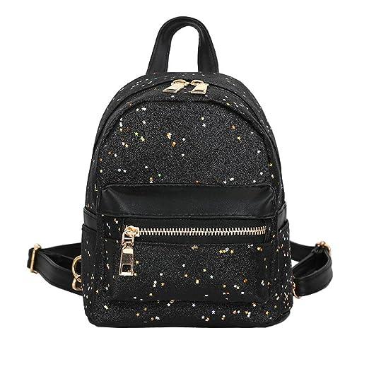 be0ae3dfe0de Amazon.com: Kimloog Women Girls Sequins Leather School Bag Casual ...