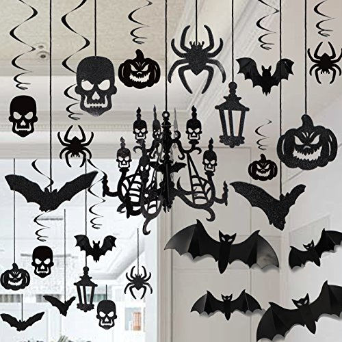 House Decorations For Halloween (Halloween Haunted House Chandelier Decoration Swirl Ceiling Hanging and Wall Decoration Set)