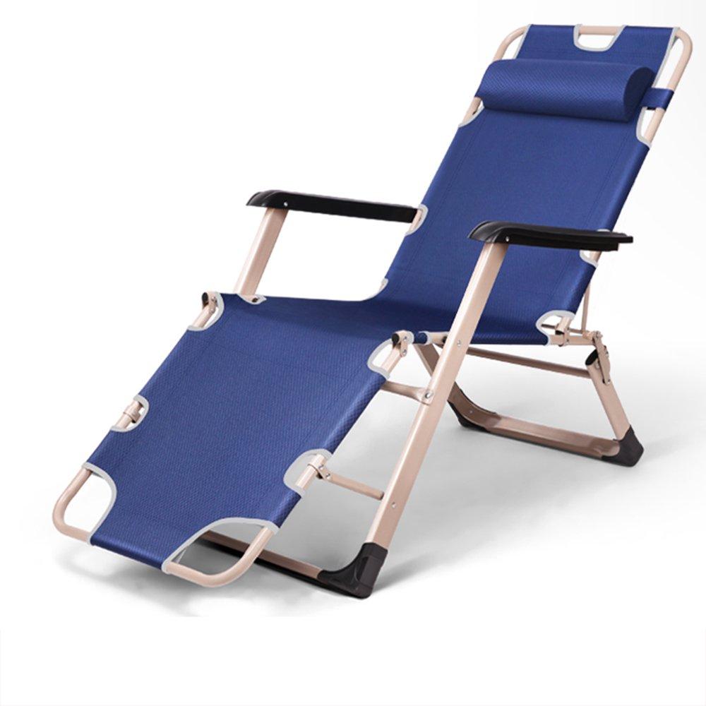 Blue deck chair / lunch break sleeping chair / office bed backrest / lounge chair / beach chair / recreational home / ( Size : A )