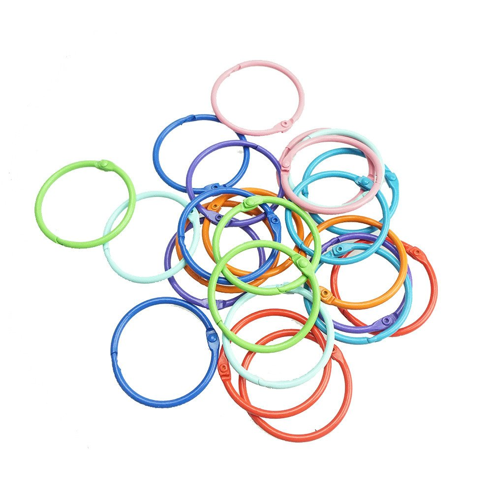 Bilipala Loose Leaf Binder Rings Book Ring Keychain, 1.5 Inch, 24 Count, Assorted Color