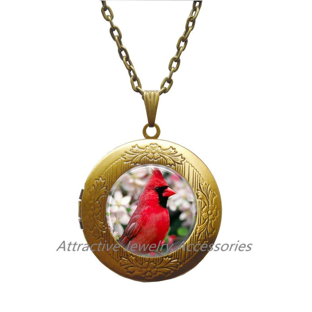 Cardinal Bird with Flowers Locket Pendant Glass Locket Pendant Locket Necklace Cardinal Jewelry Cardinal Locket Pendant,QK010