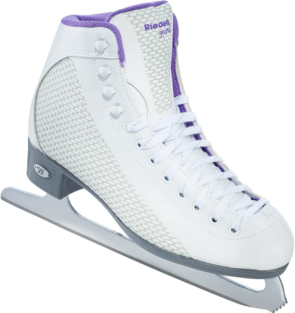 Riedell 113 Sparkle Womens Beginner Soft Figure Ice Skates Color White and Violet Size 4