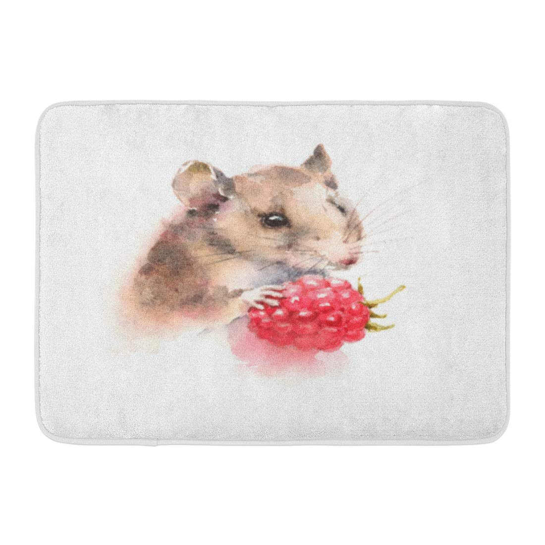 Emvency Bath Mat Forest Red Painting Watercolor Mouse Holding Berry Raspberry Wild Animal Rodent White Drawn Hand Bathroom Decor Rug 16'' x 24''