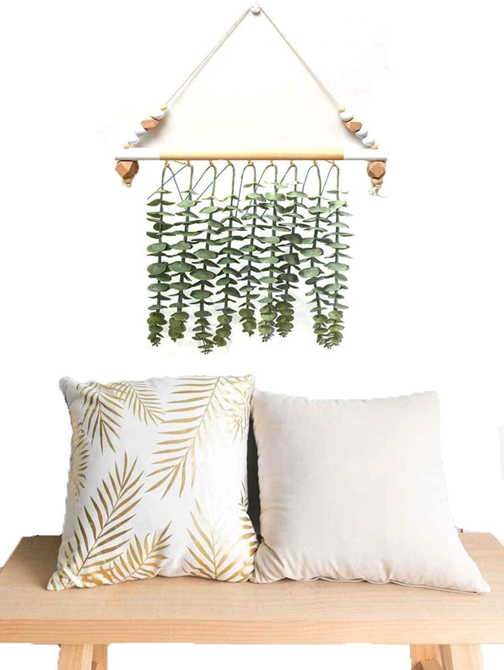 Eucalyptus Wall Hanging Artificial Eucalyptus Vines Branches and Greenery Decor for Boho Apartment Bedroom Living Room Decoration