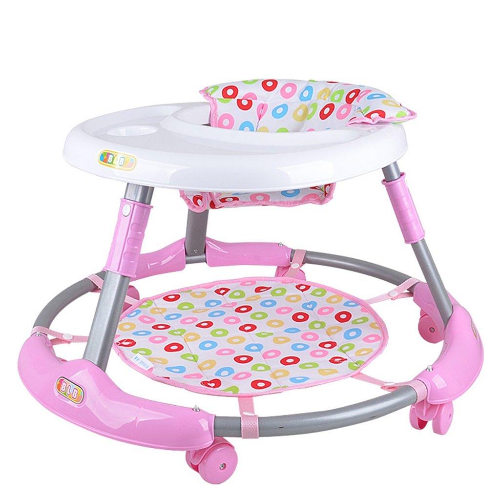 HAIZHEN マウンテンバイク ABSベビーウォーカーアンチロールオーバー多機能6-7-18ヶ月折り畳むことができる無料のインストール座って調整可能なクッションベビーキャリッジ71 * 71 * 40センチメートル 新生児 B07DMNY6VX ピンク ぴんく ピンク ぴんく