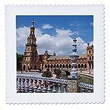 3dRose Danita Delimont - Spain - Spain, Andalusia, Seville. Plaza de Espana scenic. - 22x22 inch quilt square (qs_277897_9)