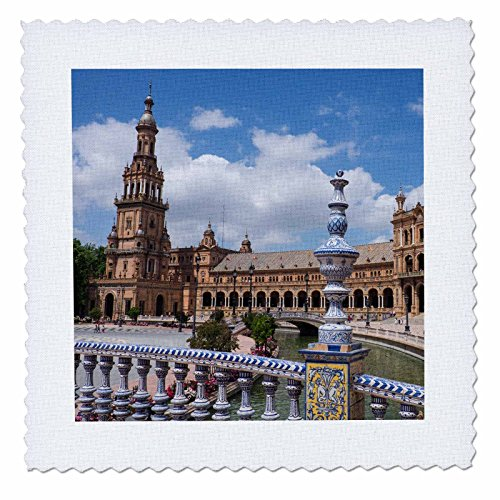 3dRose Danita Delimont - Spain - Spain, Andalusia, Seville. Plaza de Espana scenic. - 22x22 inch quilt square (qs_277897_9) by 3dRose
