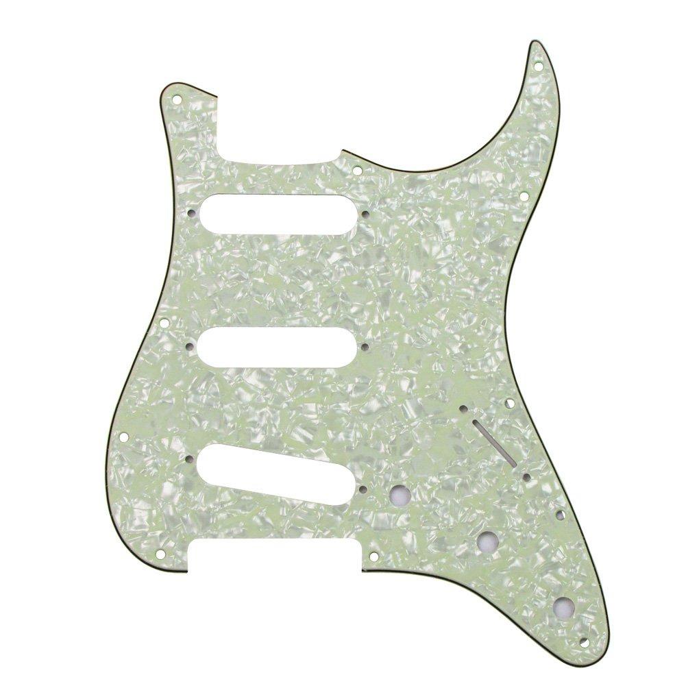 Golpeador de repuesto para guitarra eléctrica Fleor, estilo SSS, de 11 agujeros, de celuloide con placa de PVC para Fender Strat., 4Ply Vintage Mint Green ...