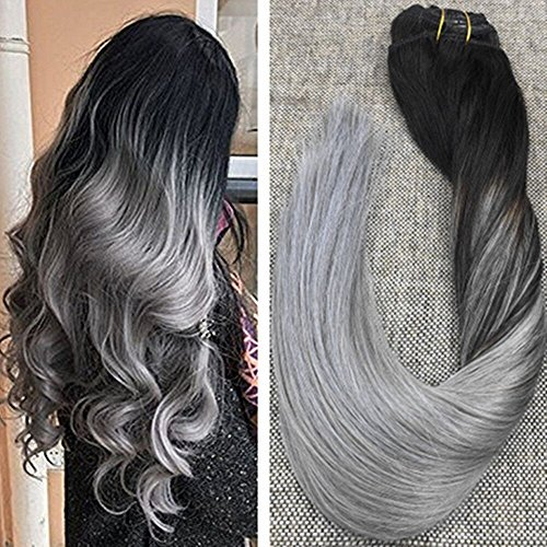 Ugeat 16inch Full Head Clip in Extensions Real Human Hair Cl