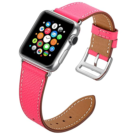 645e0a53d55 Valkit for Apple Watch Band - iWatch Bands 42mm Genuine Leather Strap  iPhone Smart Watch Band Bracelet Replacement Wristband with Stainless Steel  Adapter ...