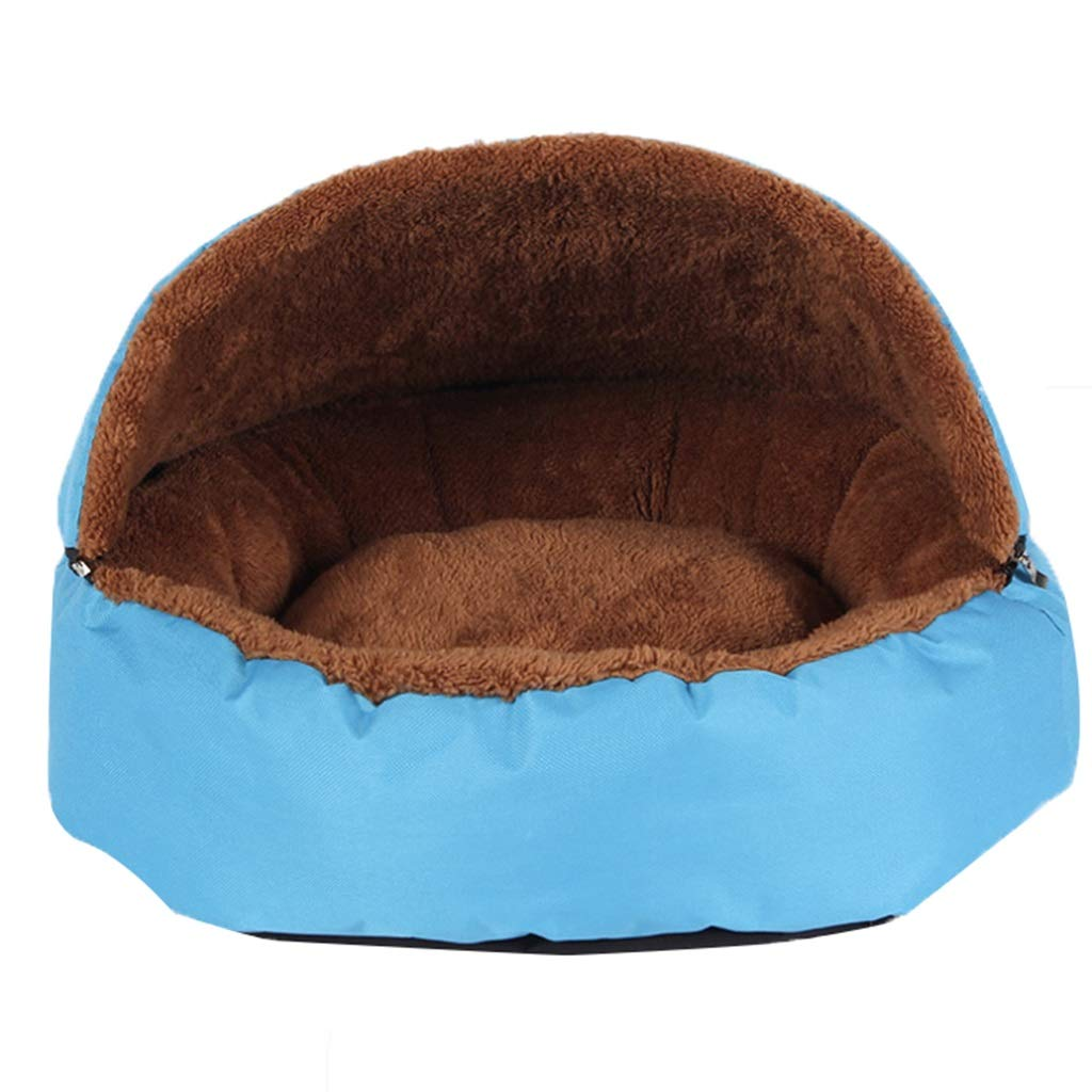 bluee Kennel Winter Cat Litter Plush Warm Padded Pet Nest Cover Removable and Washable Cage Cloth Small and Medium Dogs and Cats Resistant Scratch (color   bluee)