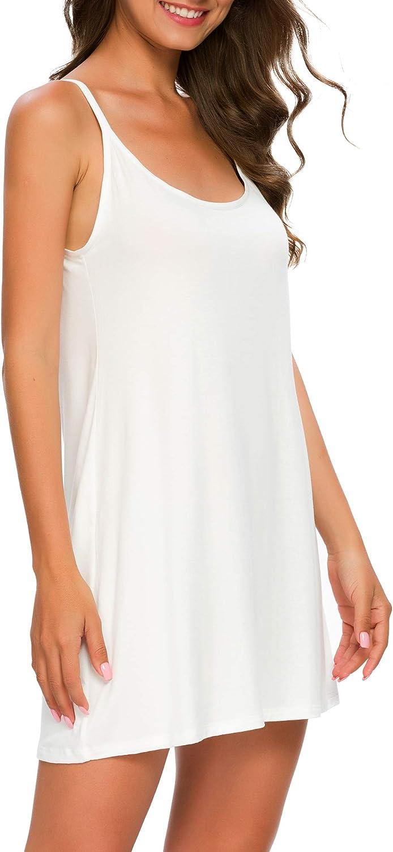 Houmagic Womens Nightgown Full Slips Modal Comfy Chemise Sleep Dress Plus Size S-4XL