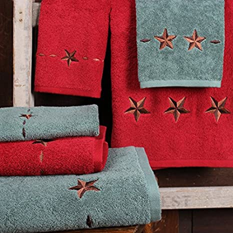 Embroidered Star Western Towel Set, Red Rod' s