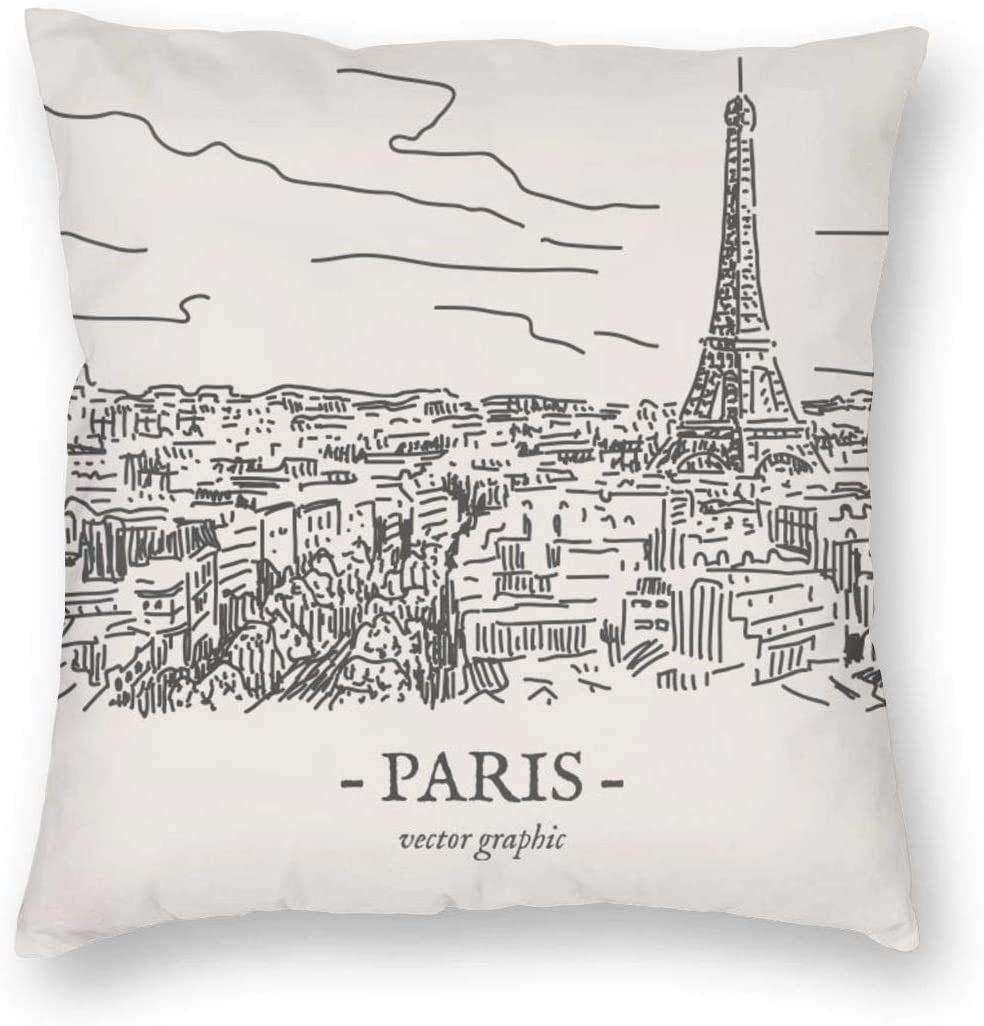 Amazon Com French Paris Eiffel Tower Decorative Pillow Covers 18 X 18 Paris City Throw Pillow Case For Living Room Soft Solid Cushion Case For Sofa Bedroom Kitchen Dining