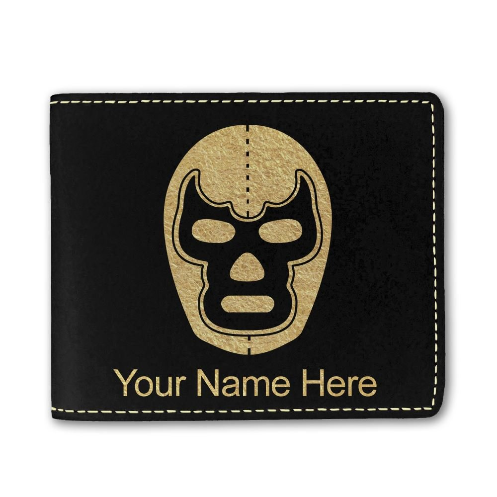 Faux Leather Wallet, Luchador Mask, Personalized Engraving Included (Black) by SkunkWerkz